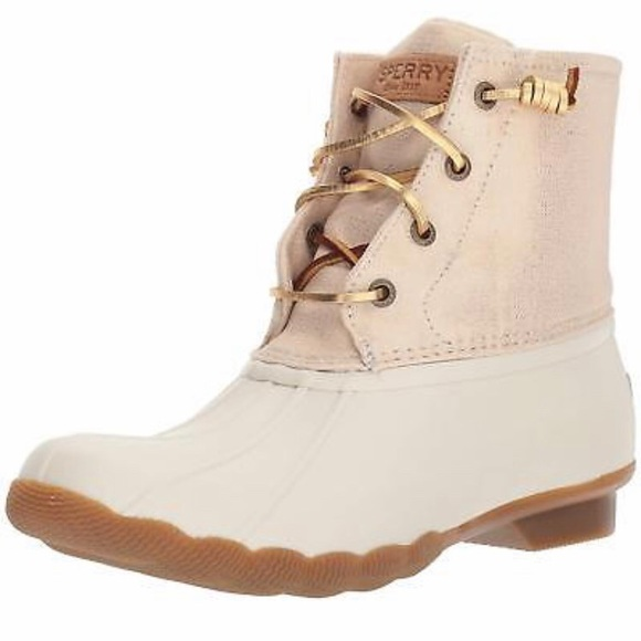 Sperry White And Gold Duck Boots